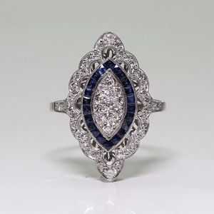 Stunning Sterling Silver Blue Luxury CZ Stone Ring